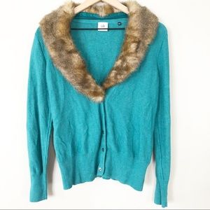 Cabi faux fur trim cardigan